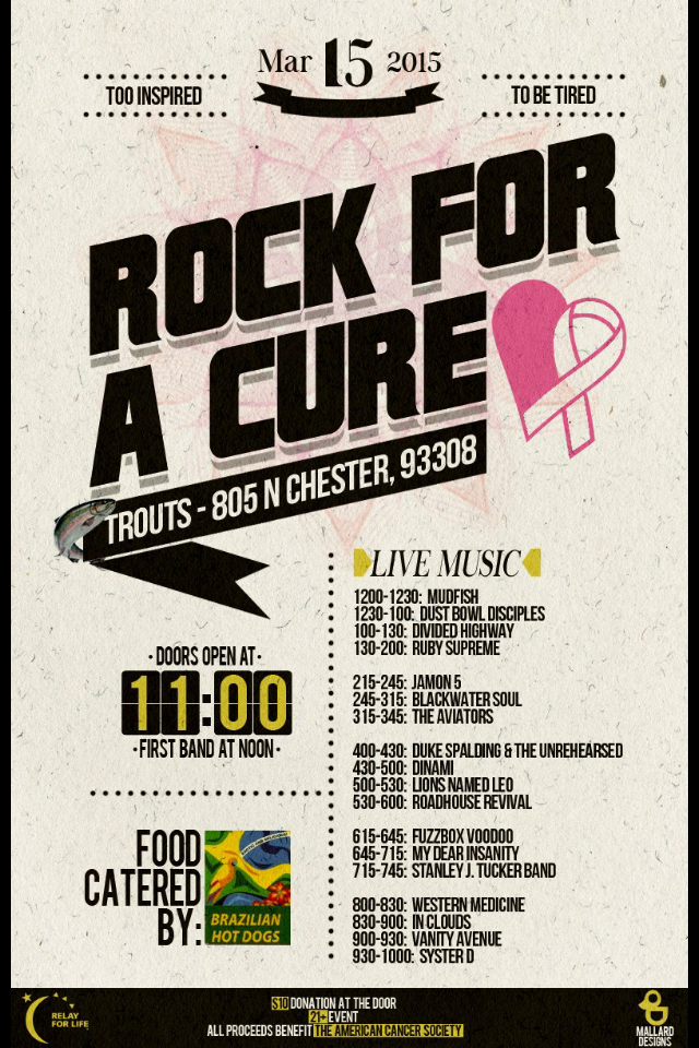 trout's cancer fundraiser march flyer